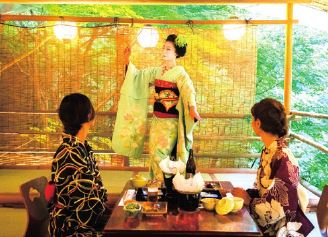(1) Kyoto Maiko Dinner   (2) River Terrace Dining with Maiko